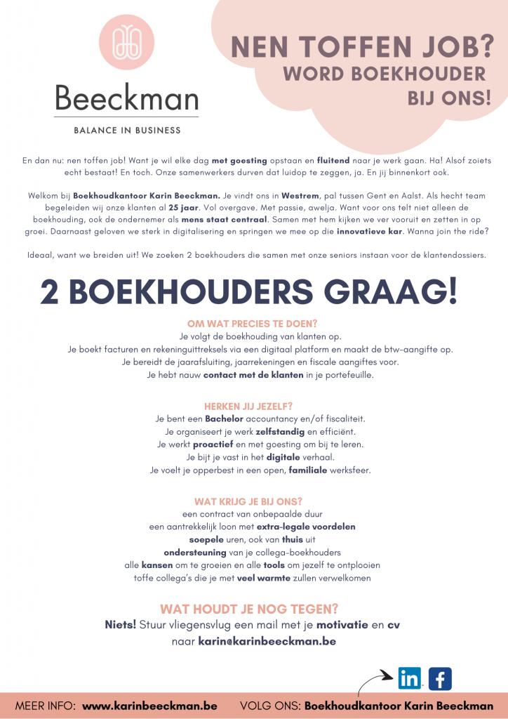 Vacature Boekhoudkantoor Karin Beeckman